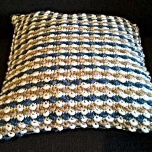 Coussin bi-matière blanc bleu beige, création artisanale, O'drey créa