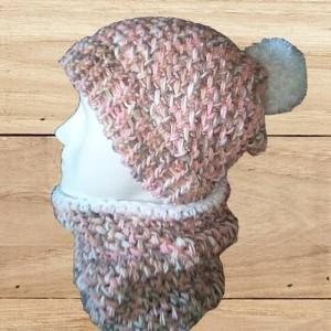 bonnet et snood rose, créations artisanale, O'drey créa