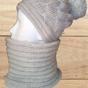 bonnet gris au point papillon et son snood, création artisanale, O'drey créa