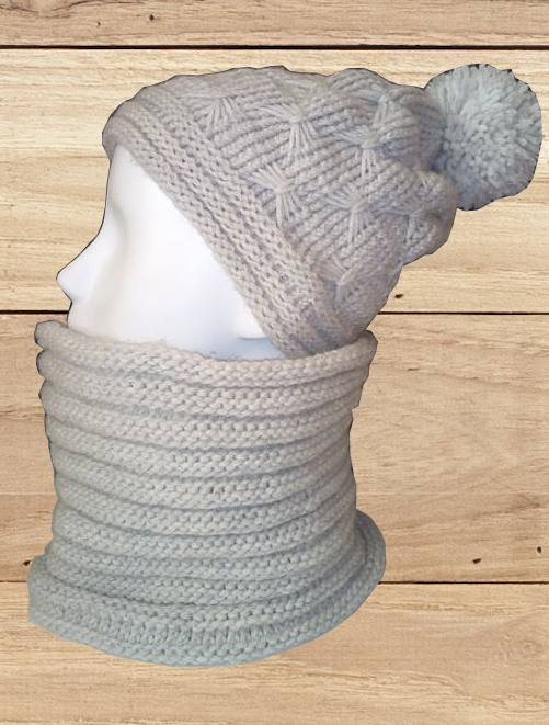 Ensemble bonnet gris au point papillon et son snood, O'drey créa