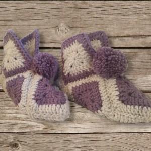 chaussons gris et violet, création artisanale, O'drey créa