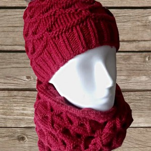 Ensemble bonnet et snood point fantaisie rouge, O'drey créa