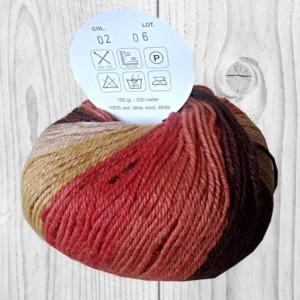 laine Boliviaorange, moutarde, marron, vente de laine, pelote de laine, O'drey créa