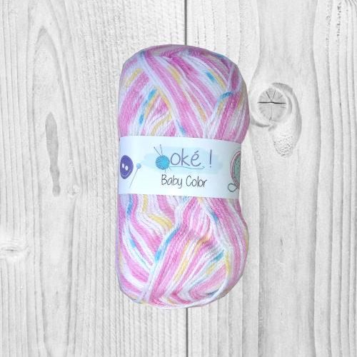 Laine Baby ok color rose style jacquard, vente de laine, pelote de laine, O'drey créa