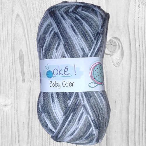 Laine Baby ok color gris motif style jacquard, vente de laine, pelote de laine, O'drey créa