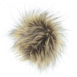 Pompon fausse fourrure flanelle couleur élan, vente de laine, mercerie, O'drey créa